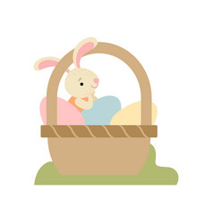 cute bunny sitting in basket full decorated vector image