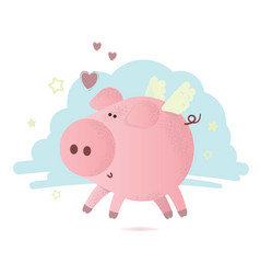 cute pink pig with hearts vector image