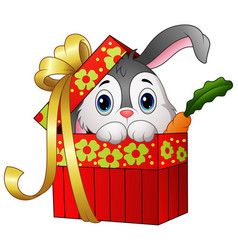 cute rabbit cartoon in a gift box vector image