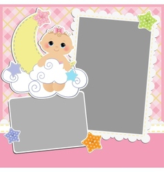 Cute template for babys card vector image