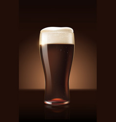 dark porter beer in glass cup refreshing drink vector image