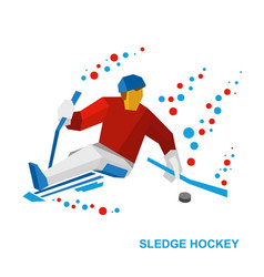 Disabled sledge hockey player with sticks on ice vector