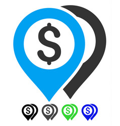 dollar bank markers flat icon vector image