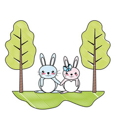 Doodle cute couple rabbit animal in the landscape vector