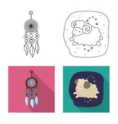 dreams and night icon set vector image