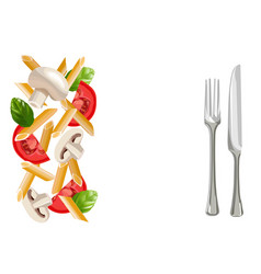 dry penne pasta with basil tomatoes mushrooms vector image