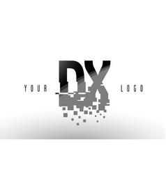 dx d x pixel letter logo with digital shattered vector image