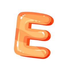 E orange glossy bright english letter kids font vector