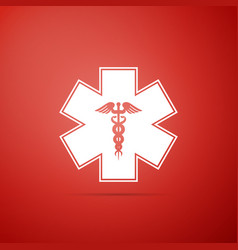 Emergency star - medical caduceus snake with stick vector