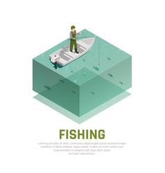 fishing alone isometric background vector image