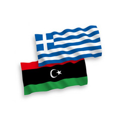 Flags greece and libya on a white background vector