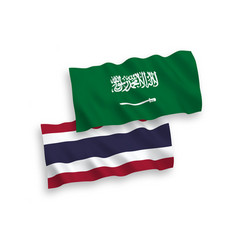 Flags saudi arabia and thailand on a white vector