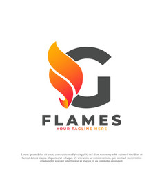 Flame with letter g logo design fire logo template vector