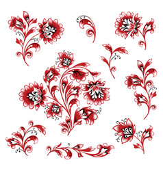 floral pattern design element set ornamental vector image