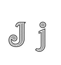 Font tattoo engraving letter J with shading vector