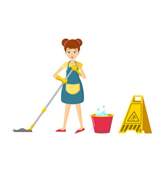 girl in an apron is engaged in cleaning the room vector image