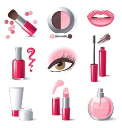 Glamourous make-up icons set vector