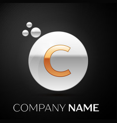 Gold letter c logo silver dots splash and bubble vector