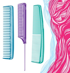 Hairdressers and stylists colored comb vector
