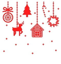 Hanging christmas toys decoration vector image