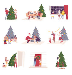 happy people preparing and celebrating winter vector image