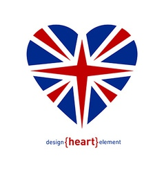 heart with united kingdom flag vector image