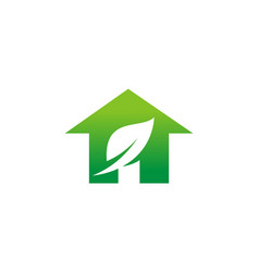 Home green leaf logo vector
