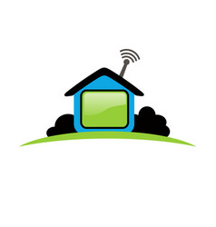 House icon logo design for work from home vector