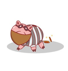 Isolated cartoon piggy bang burglar stealing money vector