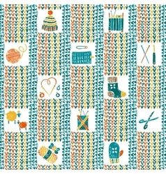 Knitted seamless pattern with knitting accessories vector