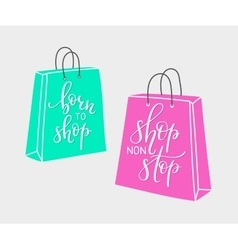 Lettering on shopping bag shape vector