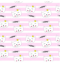 Little cute cat princess seamless pattern vector