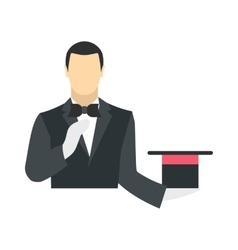 Magician in a black suit holding an empty top hat vector image