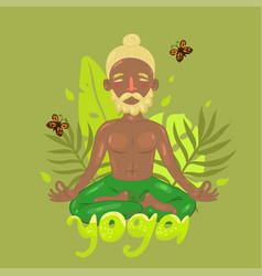 Man in lotus position on green vector