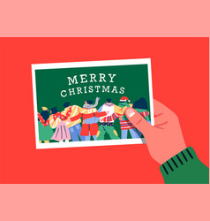 Merry christmas card hand holding friend photo vector