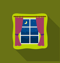 night out the window icon in flate style isolated vector image
