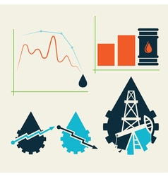 oil industry elements and diagram fall and rise of vector image