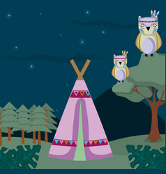 Owls cute hippie cartoon vector