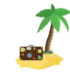 Palm tree and tourist bag vector image