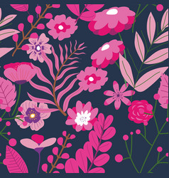 pink decorative flowers and leaves pattern vector image