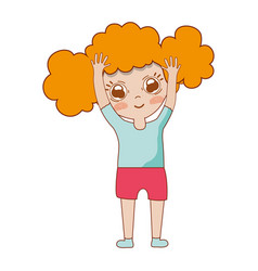 Pretty girl with hands up and casual wear vector