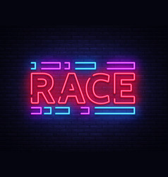 Race neon sign racing design template neon vector