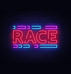 race neon sign racing design template neon vector image