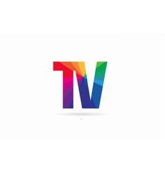 Rainbow colored alphabet combination letter tv t vector