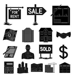 Realtor agency black icons in set collection for vector