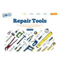 Repair tools landing page layout vector