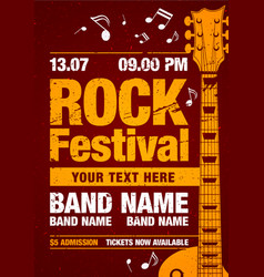 Rock concert retro poster design template vector