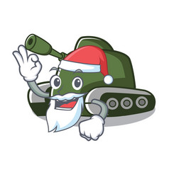 Santa tank mascot cartoon style vector