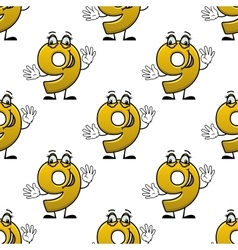 Seamless cartoon number nine characters pattern vector