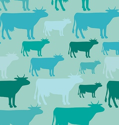 Seamless pattern of blue cow vector